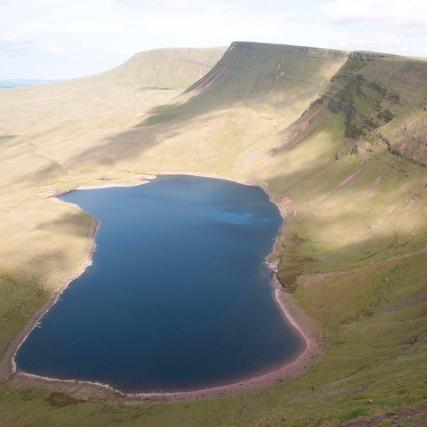 Llyn y Fan Fach below the mountain ridge