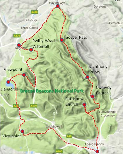 Mountains, Monks and Books route map